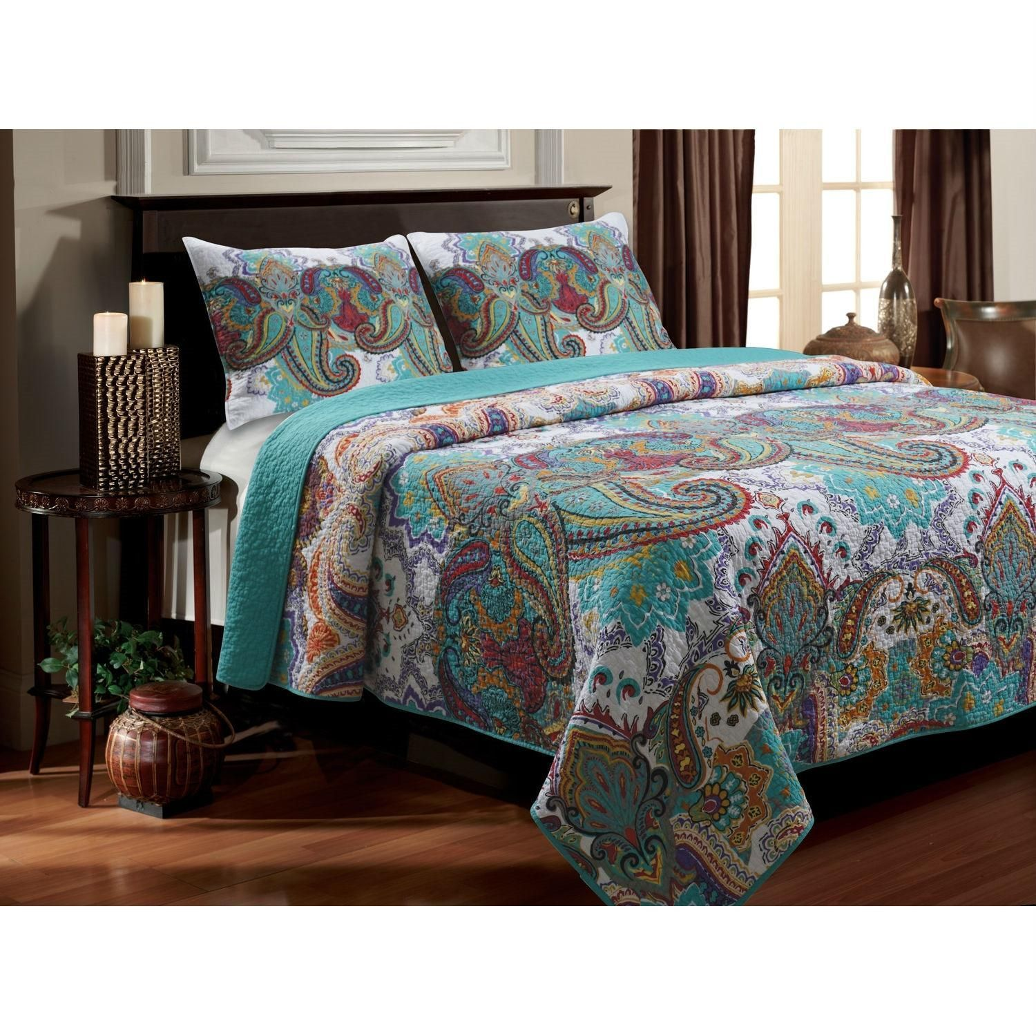 King Size 100 Percent Cotton Quilt Set In Teal Paisley Pattern