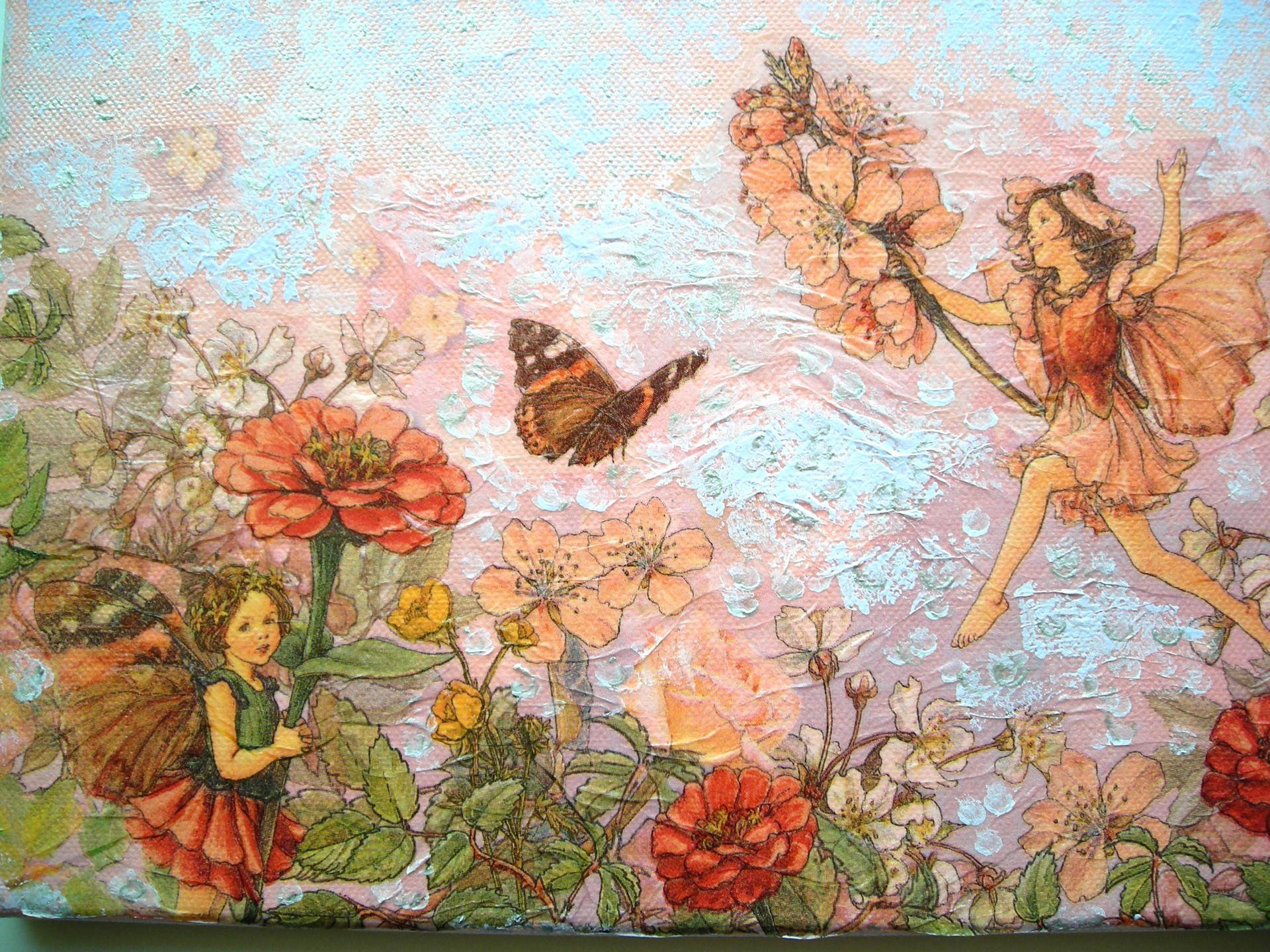 collage peinture acrylique et vernis sur toile enduite 22 x 33 cm jolies elfes dans les fleurs. Black Bedroom Furniture Sets. Home Design Ideas