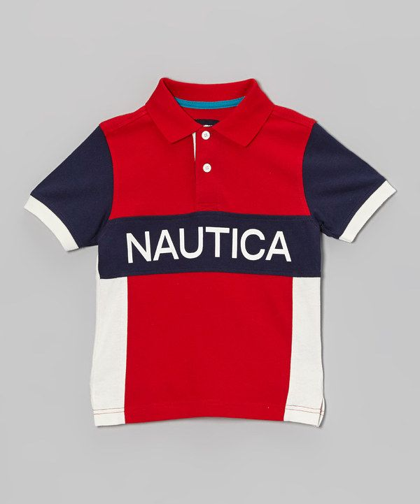 Take a look at this Nautica Red & Blue Jersey Polo - Toddler & Boys on
