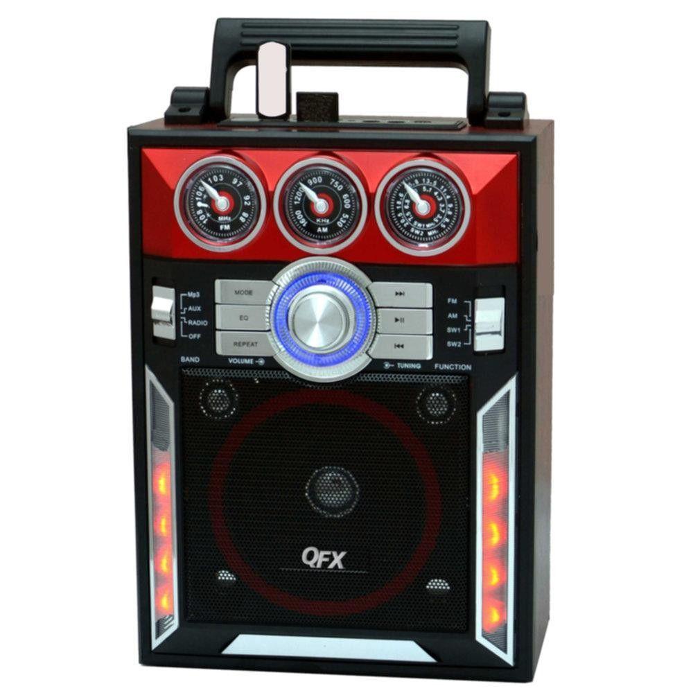 QFX Karaoke Multimedia Speaker withAM- FM Radio- Red