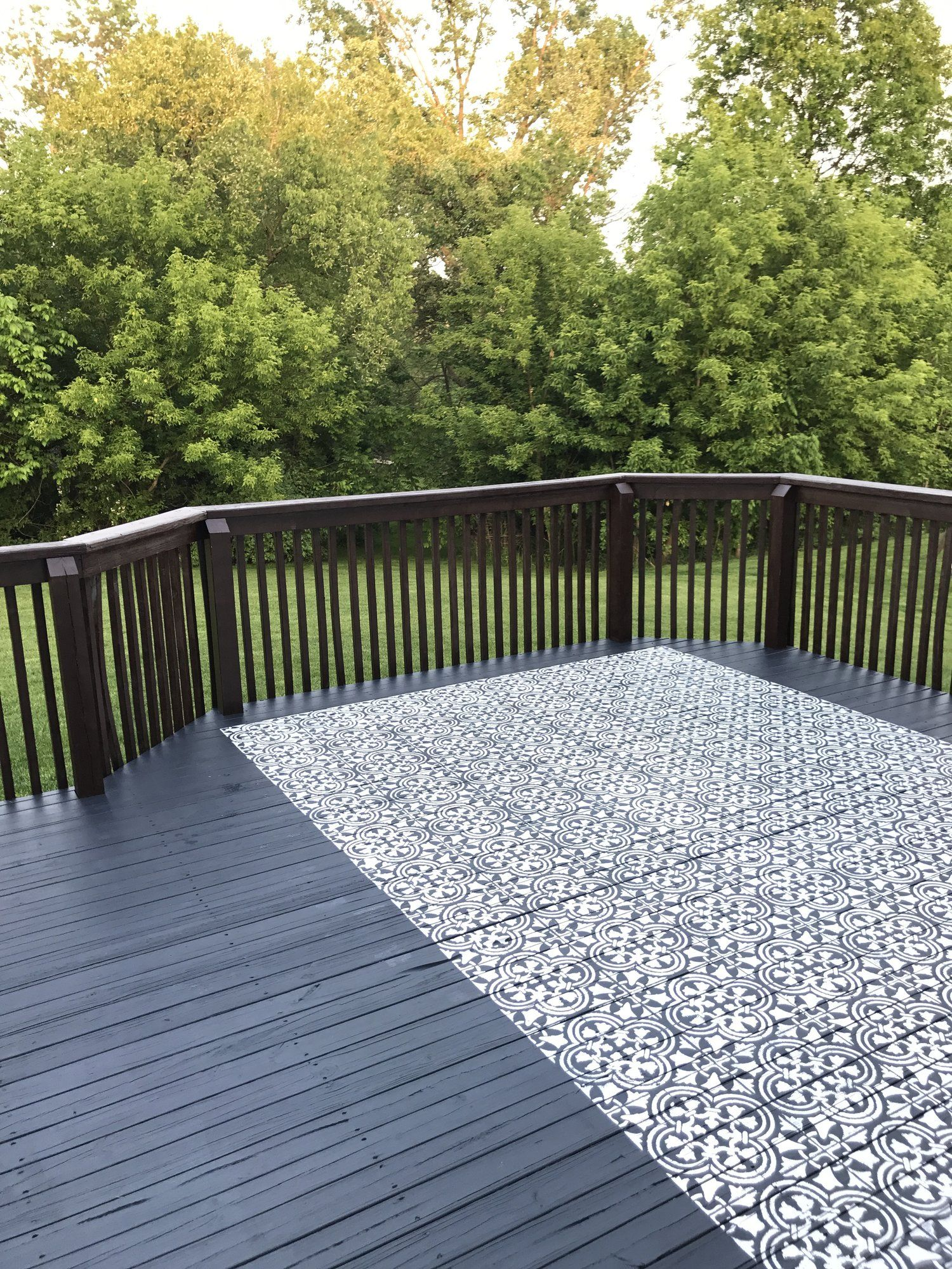 Outdoor Decor Stenciled Rug The Other Side Of Neutral In 2020 Painted Outdoor Decks Outdoor Rugs Patio Outdoor Decor