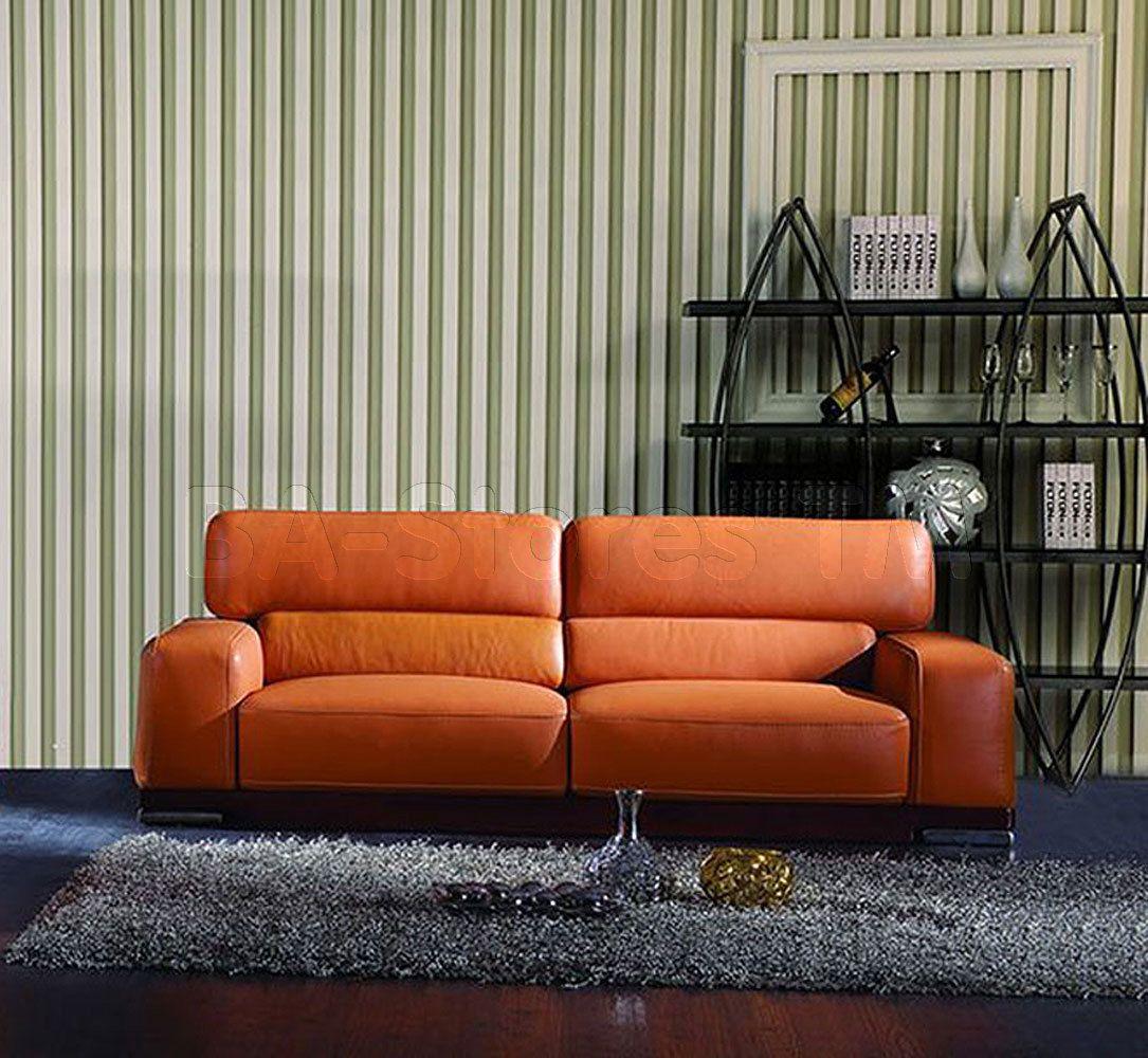 Furniture · 2766 Leather Sofa In Orange ...