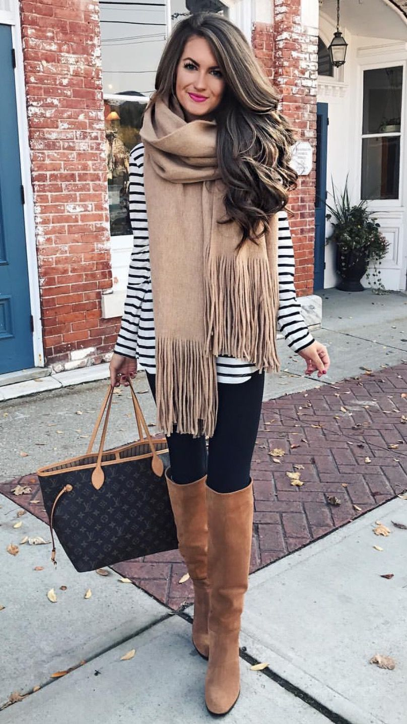 striped tunic, leggings, boots white/stripes, black, and