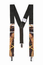 Black print suspenders.