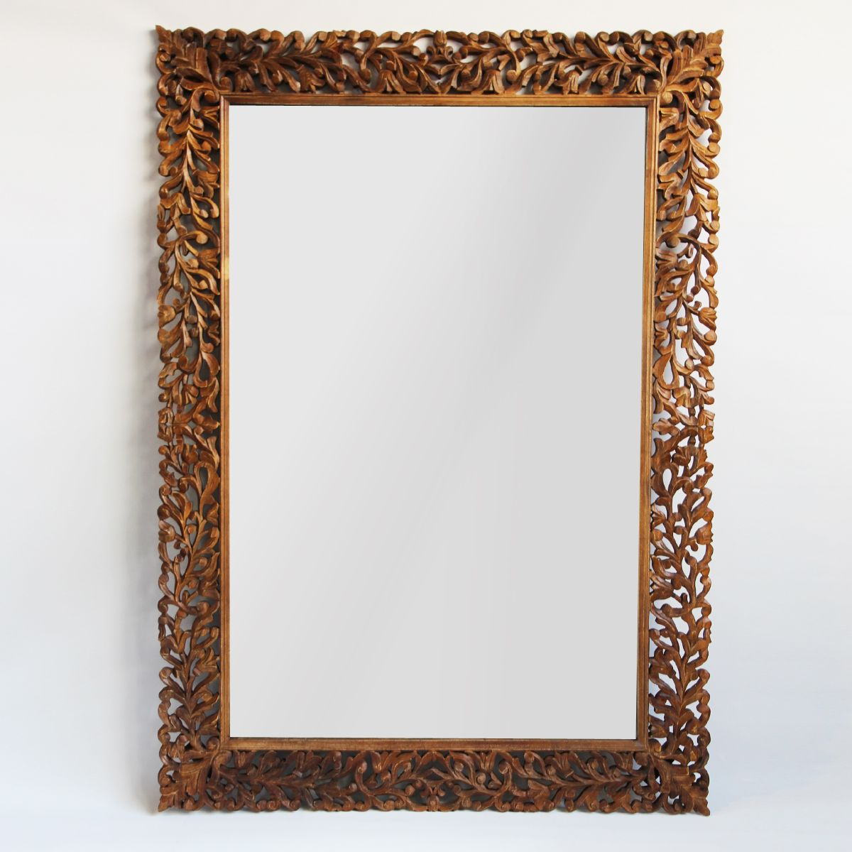 Hand Carved Teak Wood Mirror Frame With Organic Leaf Design Can Be Displayed Vertical Or