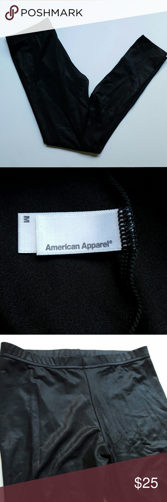 """American Apparel Shiny Black Leggings American Apparel Shiny Black Leggings in size medium. Gently worn. Worn once for a work event. Form fitting with elastic waistband. Approx. 26""""-27"""" inseam. No rips or stains. Wrinkled through out from being in dresser drawer. No trades but reasonable offers are welcomed. American Apparel Pants Leggings"""