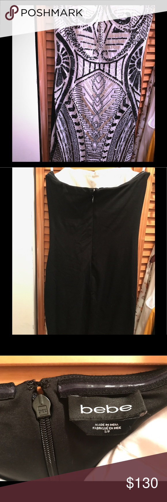 $249 EUC BEBE w/b beaded bustier strapless dress. Stunning strapless dress encrusted with intricate beaded Deco motifs. Hidden back hook-and-eye and zip closure. Fully lined. 79% Nylon, 21% spandex. Without tag, used only one time, good condition. Style Sold out in stores. bebe Dresses Mini
