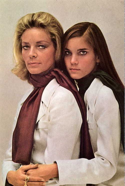 lauren bacall and her daughter leslie bogart 1968. Black Bedroom Furniture Sets. Home Design Ideas