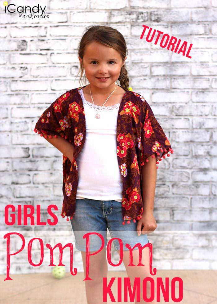 Girl\'s Pom Pom Kimono   Sewing Tutorials & Inspiration   Pinterest ...