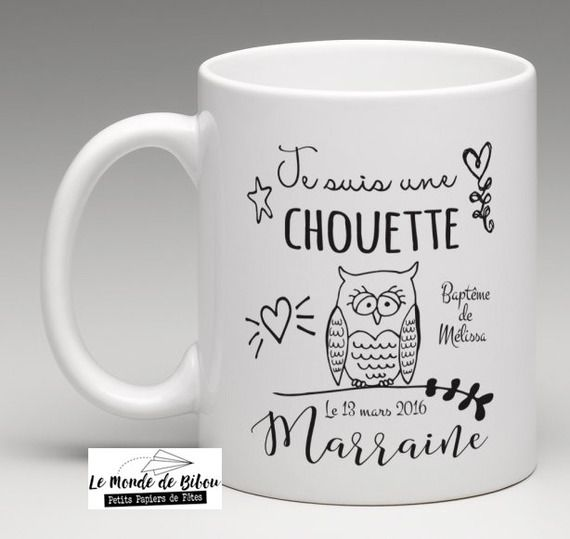 un chouette cadeau pour une chouette marraine mug personnalis mugs. Black Bedroom Furniture Sets. Home Design Ideas