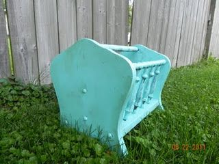 old 70's magazine rack turned funky new turquoise rack!  my most linked blog post
