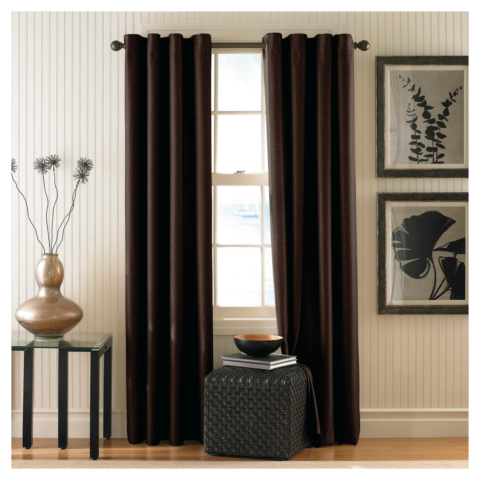 Curtainworks Monterey Lined Curtain Panel Chocolate Brown 108