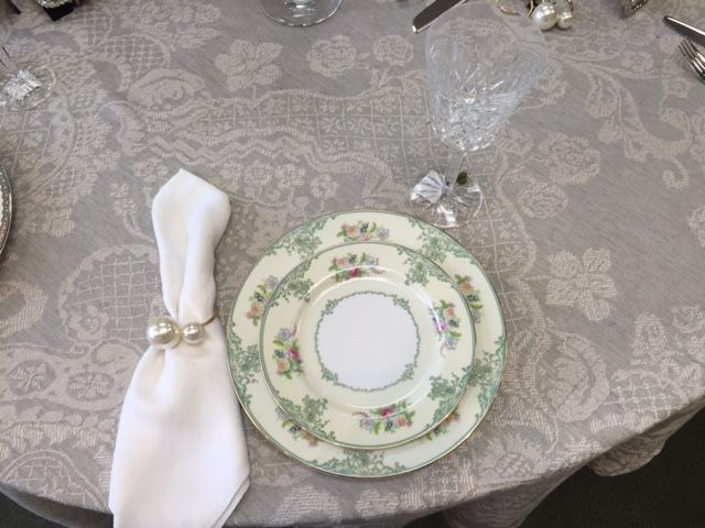 China: Brides Antique Japanese Porcelain. Crystal: Waterford Lismore Tall.