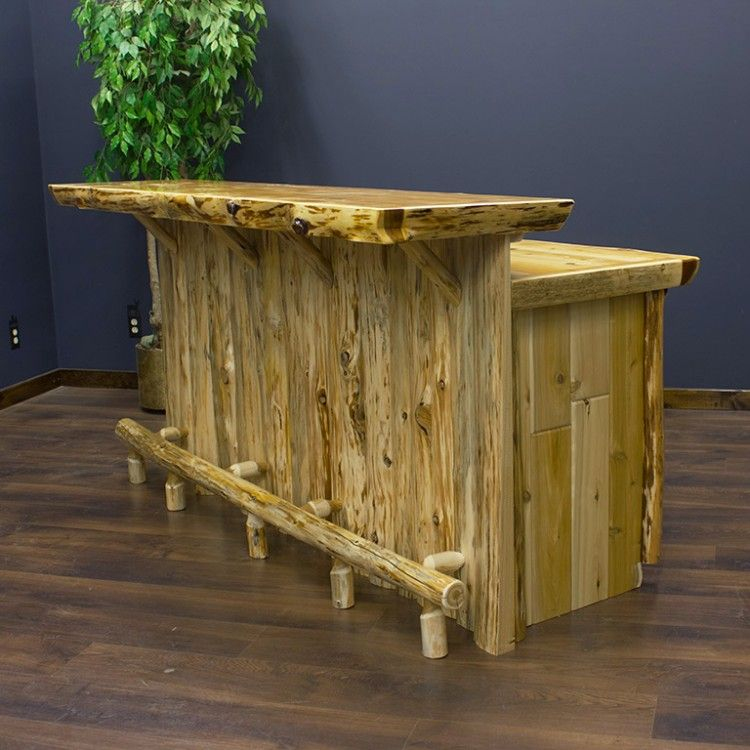 Cedar lake solid wood rustic bar bar for Bar portatil madera