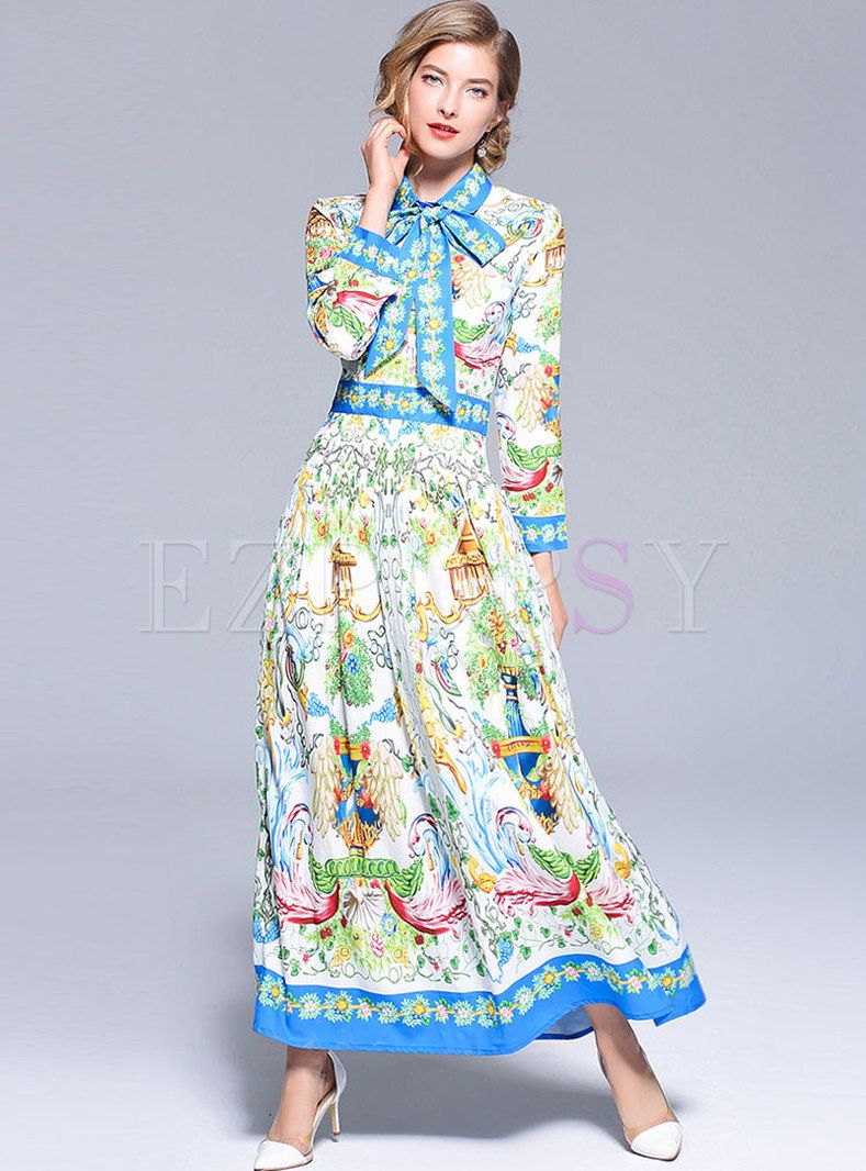 a73fa6433e61 Retro Printed Bowknot Lapel Maxi Dress v roce 2019
