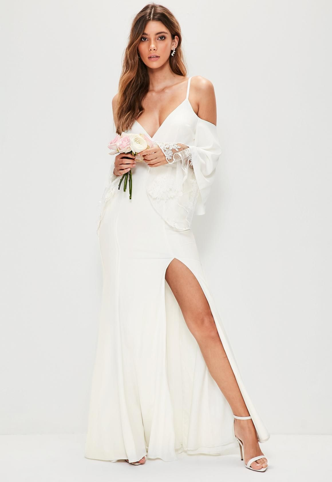2826c9440c8e3 Missguided - Bridal White Cold Shoulder Lace Detail Maxi Dress ...