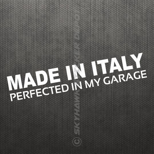 Made In Italy Vinyl Bumper Sticker Decal Euro Car Hatchback Manual