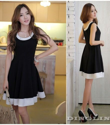 c1b95e22b446a Hot Women Sleeveless Summer Chiffon Casual Black Swing Zipper Skater Short  Dress