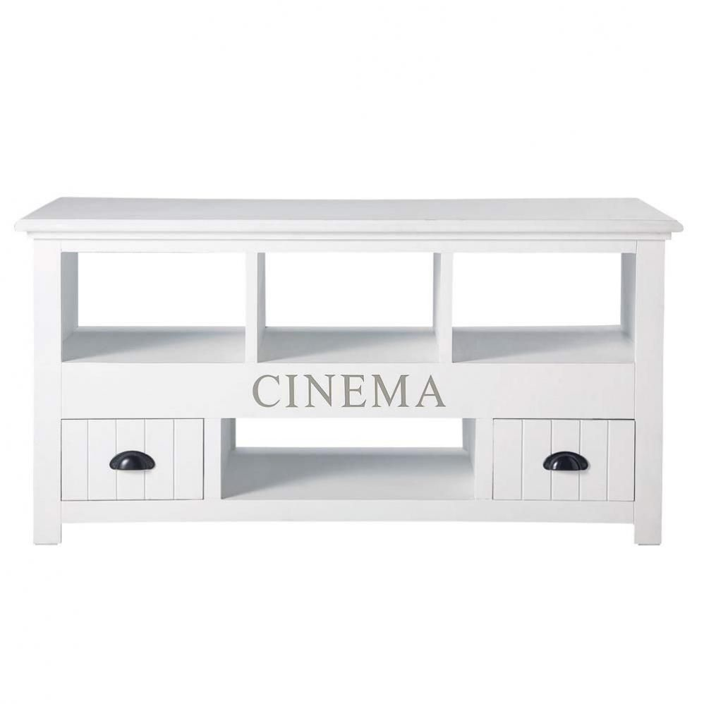 Meuble Tv En Bois Blanc L 120 Cm Newport Salon Pinterest Hifi
