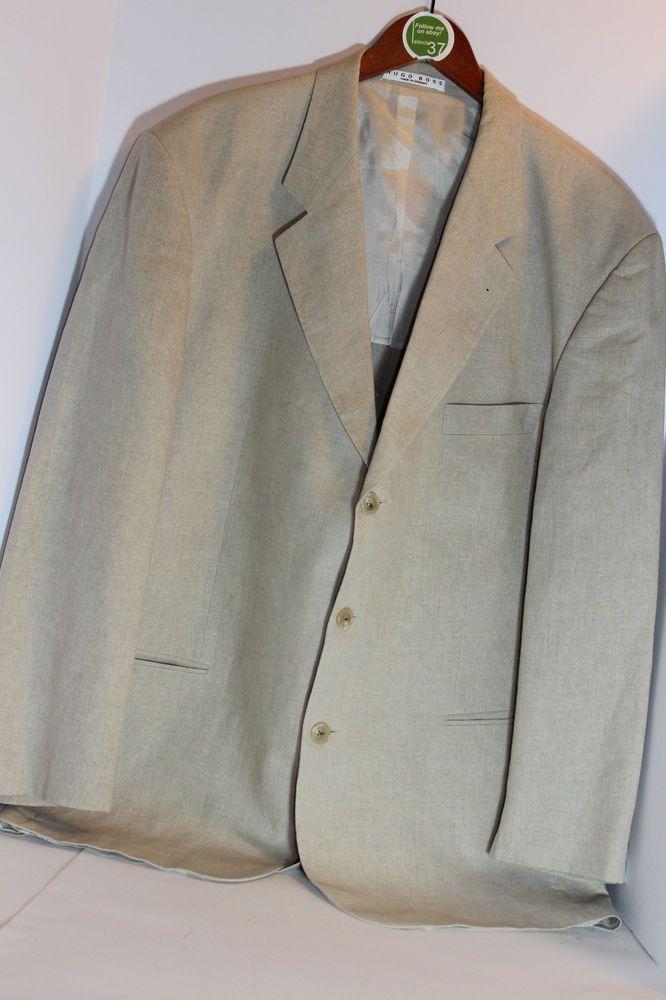 Hugo Boss 100% Linen Blazer Beige 3 button Solbiati Size 46 #HUGOBOSS #ThreeButton
