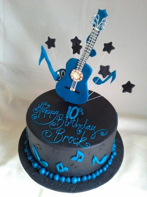 Guitar Music Themed Birthday Cake All Edible Well Except Wires