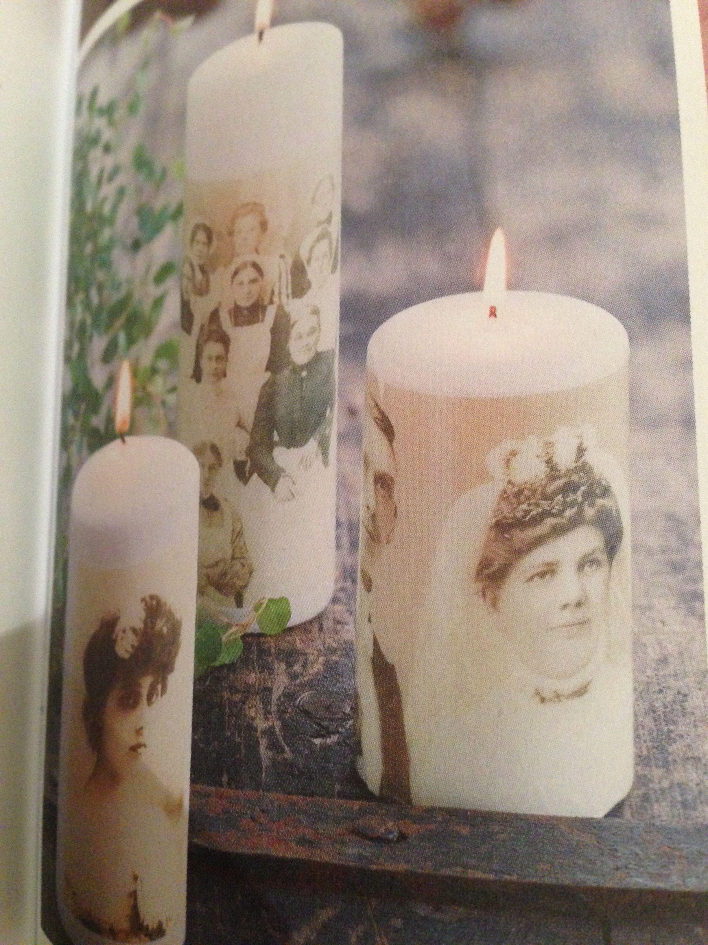 Siirtokuvapaperille tulostettu ja sitten kynttilädecoupagella