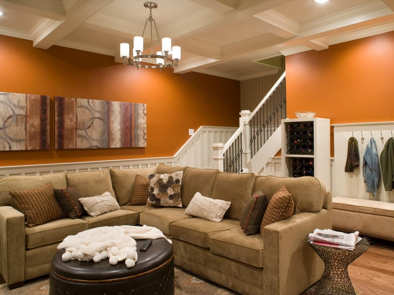 Orange Contemporary Living Room With Sectional Sofa Living Room