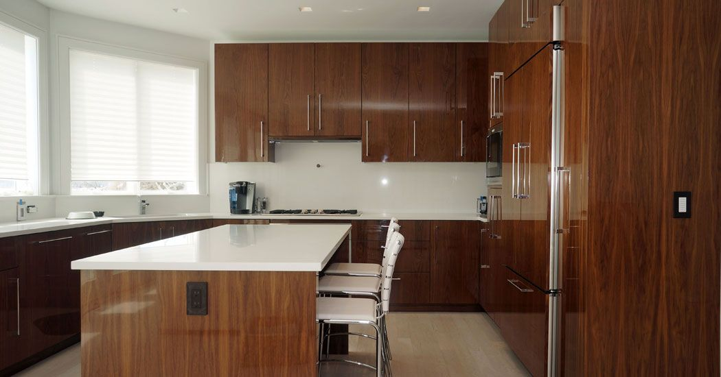 High gloss walnut veneer cabinetry contemporary kitchen for European kitchen cabinets