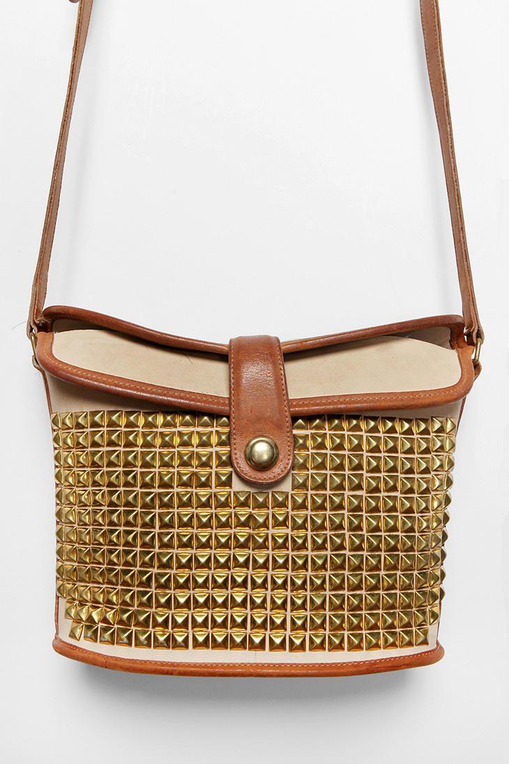 Vintage Tan Studded Coach Bag