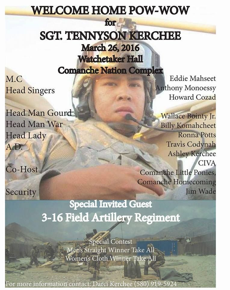 Welcome Home Pow-wow for Sgt Tennyson Kerchee Pow Wow Flyers