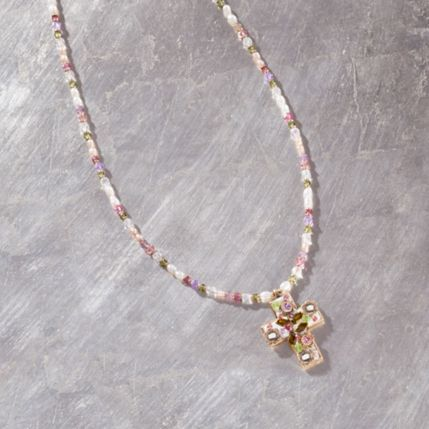 Michal Golan's Pearl And Crystal Cross Necklace