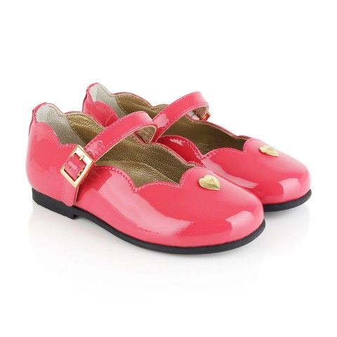 72457f9a6ede Armani Girls Coral Patent Leather Scalloped Edge Shoes