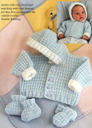 284b433b182 Easy Jacket with Hood Mitts Bootees Prem 10- 20 DK Baby Knitting ...
