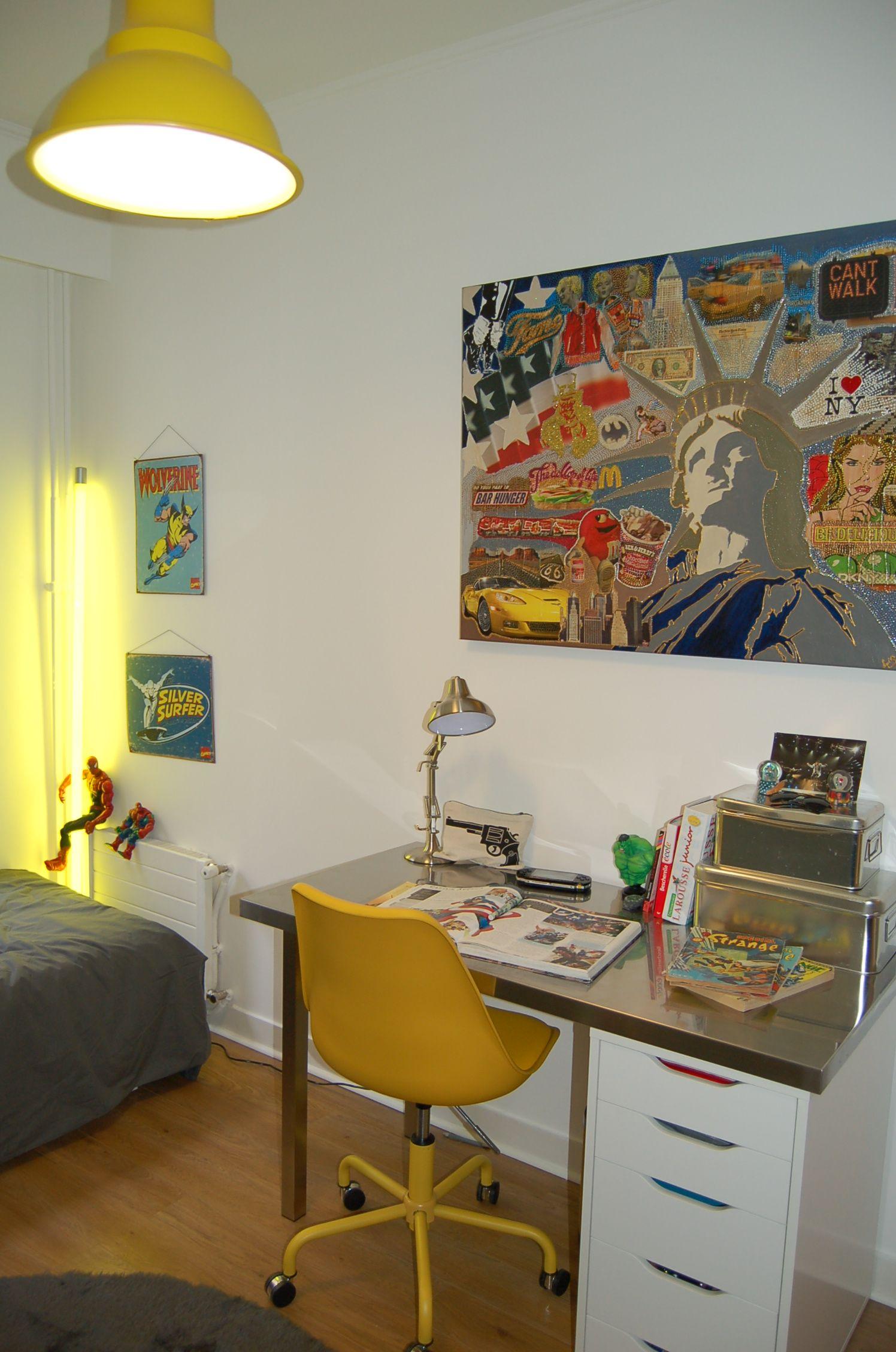 Chambre grise et jaune tableau new york chambre gar on bureau enfant bureau ado chambre ado - Deco chambre new york garcon ...