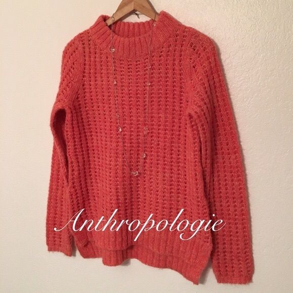 Anthropologie Sweater This sweater is a pretty coral color. Perfect for the upcoming seasons. It's a looser knit style. By Field Flower. Size S Anthropologie Sweaters