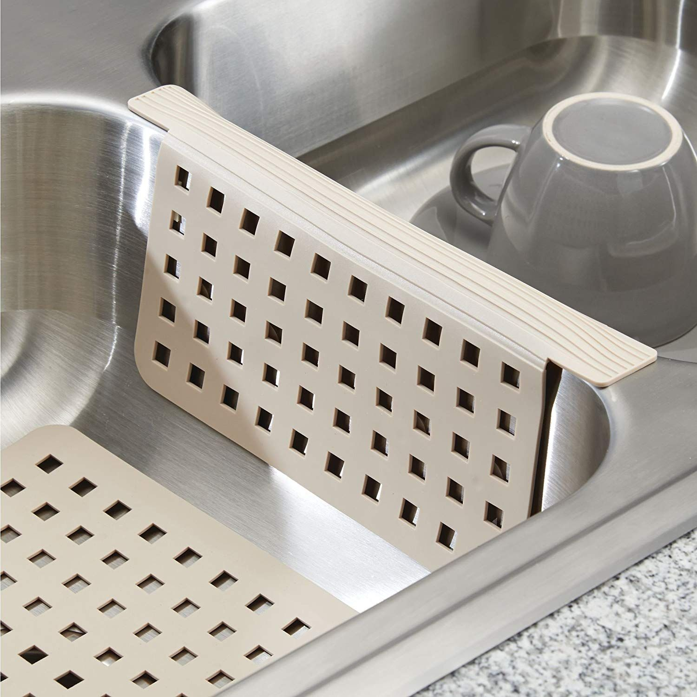 Alfombrilla antideslizante de silicona para secar los platos gris oscuro Escurreplatos apto para lavavajillas con dibujo de espiga mDesign Protector de fregadero peque/ño