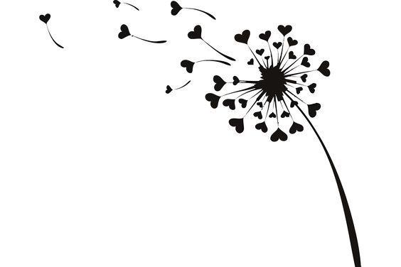 Flying Dandelion Love Hearts Vector (EPS,AI,PDF,SVG, PNG