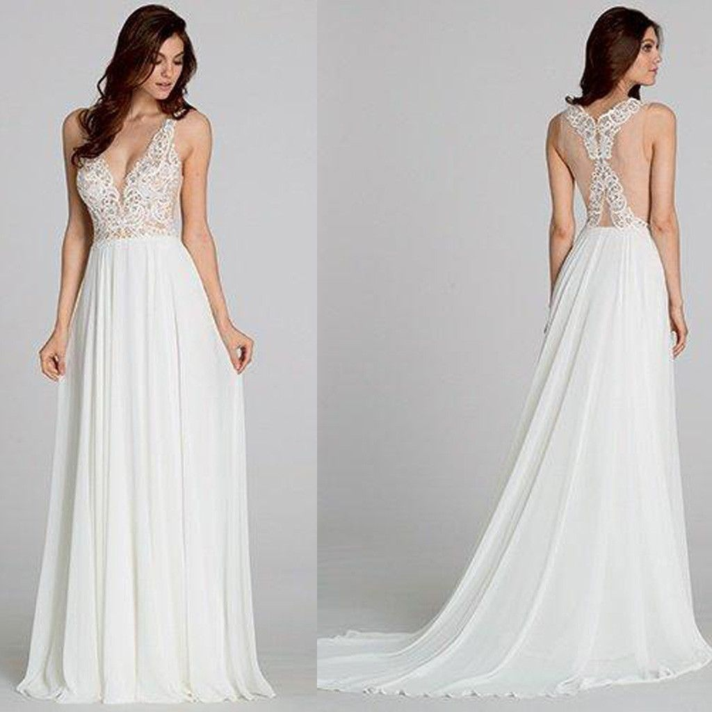Long sheath vneck see through cheap white chiffon wedding dresses