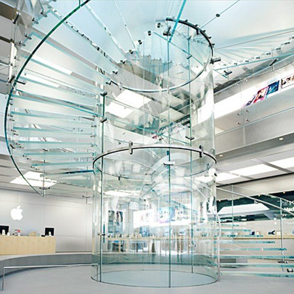 Best Self Supporting Spiral Glass Staircase In New York Apple 400 x 300
