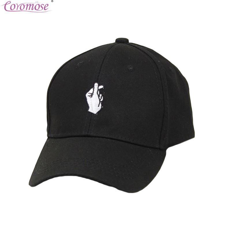 Coromose Unisex Korean Fashion Embroidery Cotton Love Finger Gesture Plain Baseball  Cap Snapback Hat Fans Sport 793466ee55e3