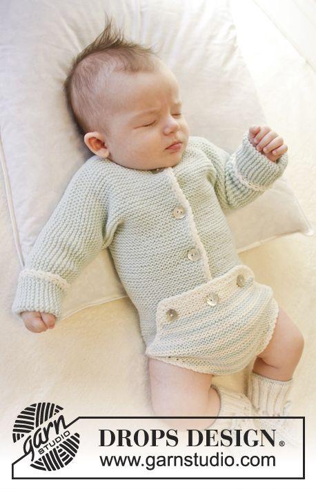 Body de punto para bebé en punto musgo con orilla a ganchillo en ...