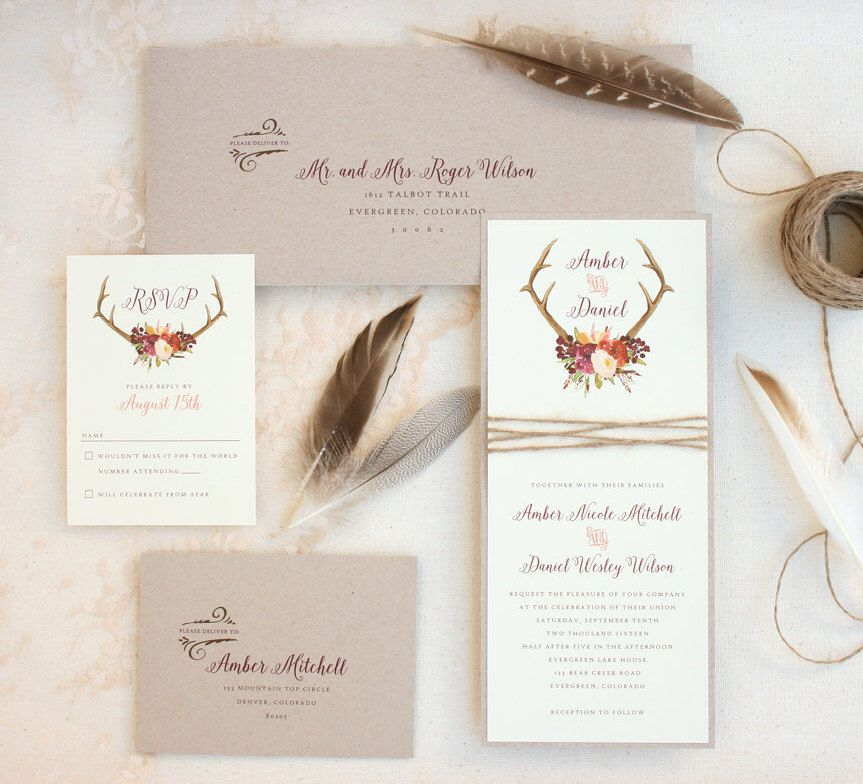 Rustic Antler Wedding Invitation Suite with Twine Wrap - Boho Antler ...