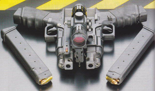 Two Fully Automatic Glock 18 C's attached for more control