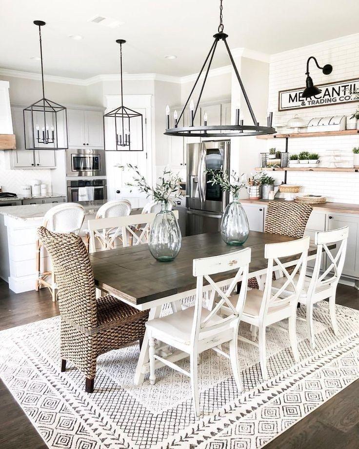 30 wonderful farmhouse style dining room design ideas 2019 10 is part of  - 30wonderfulfarmhousestylediningroomdesignideas201910main Related