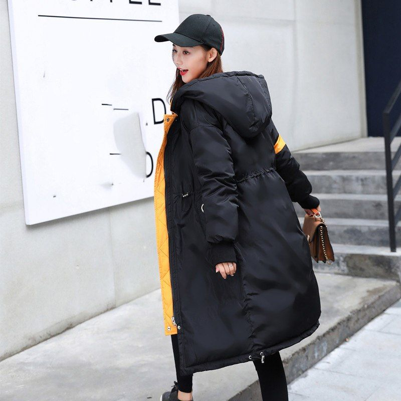 Mujeres chaqueta de invierno nuevo capucha ambos lados desgaste abrigo  medio largo moda espesamiento caliente Abrigos b4e3d04a2584