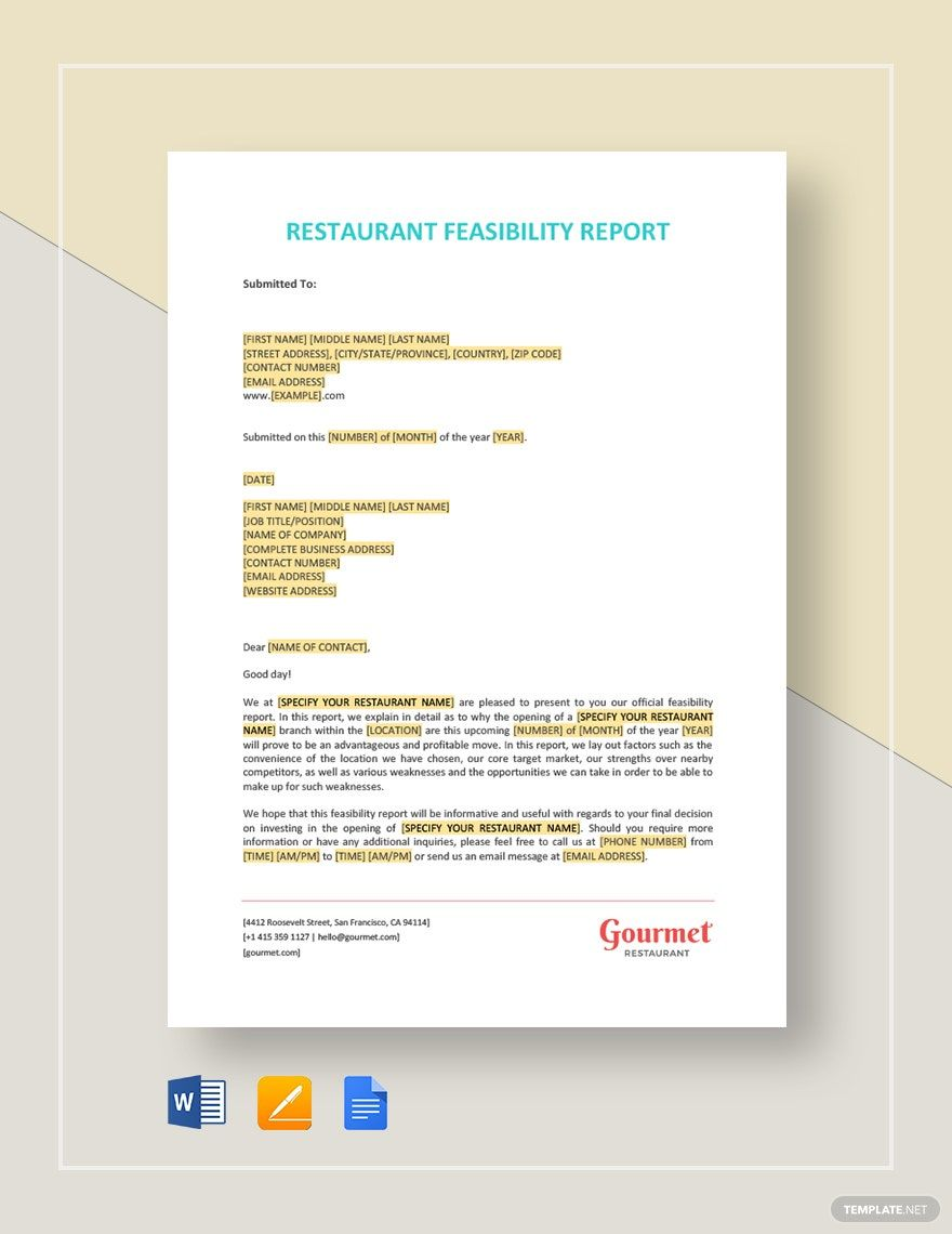 Restaurant Feasibility Report Template in 2020 Templates