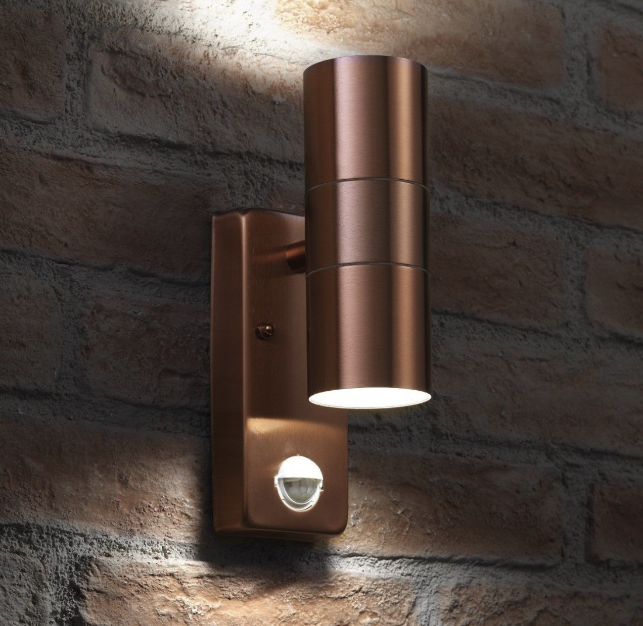 Auraglow Motion Sensor Up Down Outdoor Wall Light Copper