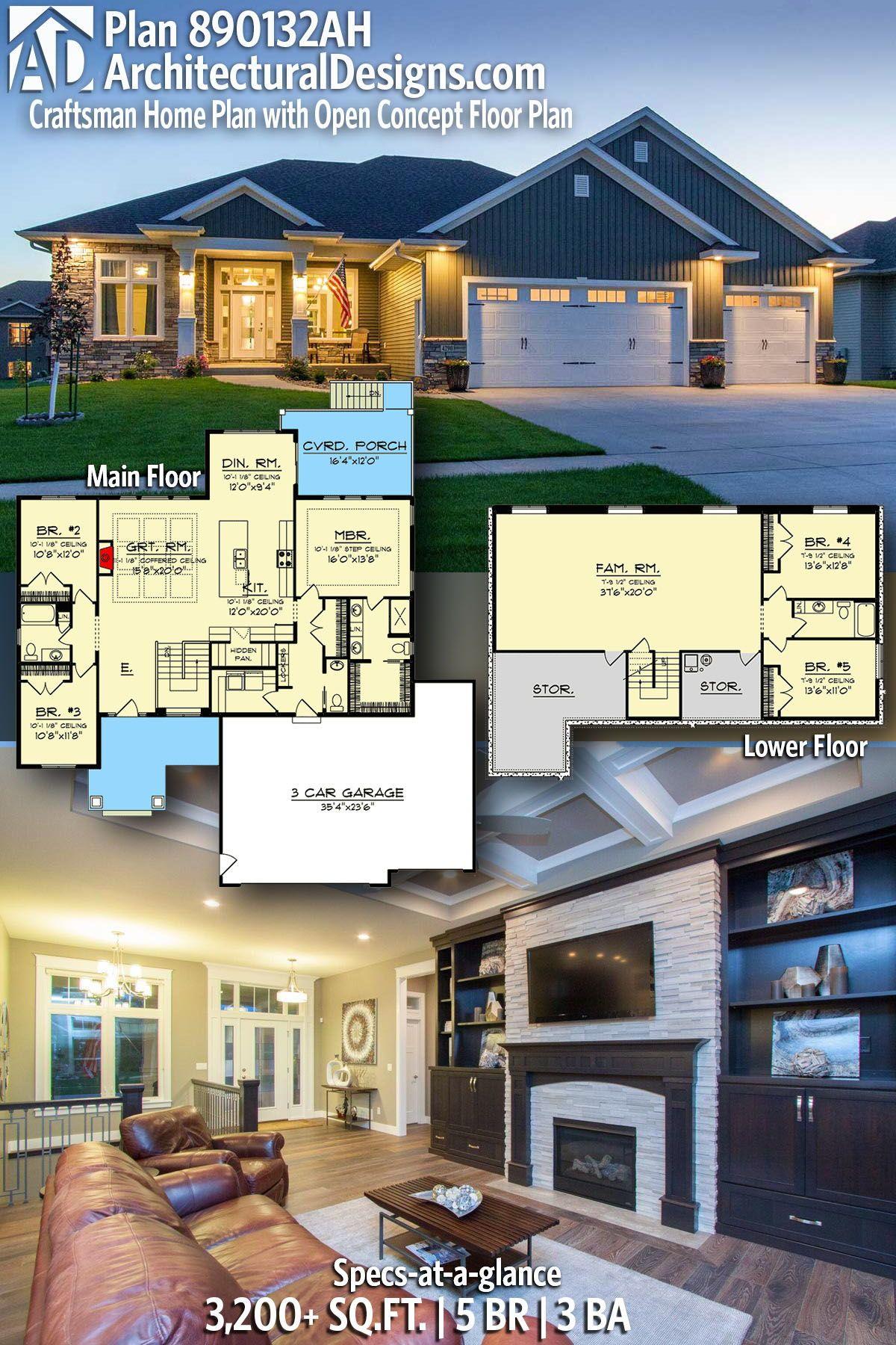 Plan 890132ah Craftsman Home Plan With Open Concept Floor Plan In 2020 Craftsman House Plans Architectural Design House Plans House Plans