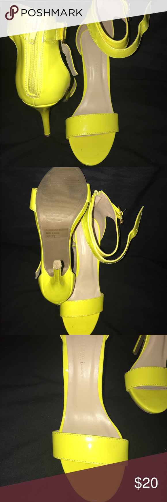 """🔥NEON YELLOW (HIGHLIGHTER) SANDALS🔥 These sandals are a must have for every girl! Worn only once for an """"all white with a pop of color"""" event. Perfect for summer Shoes Sandals"""