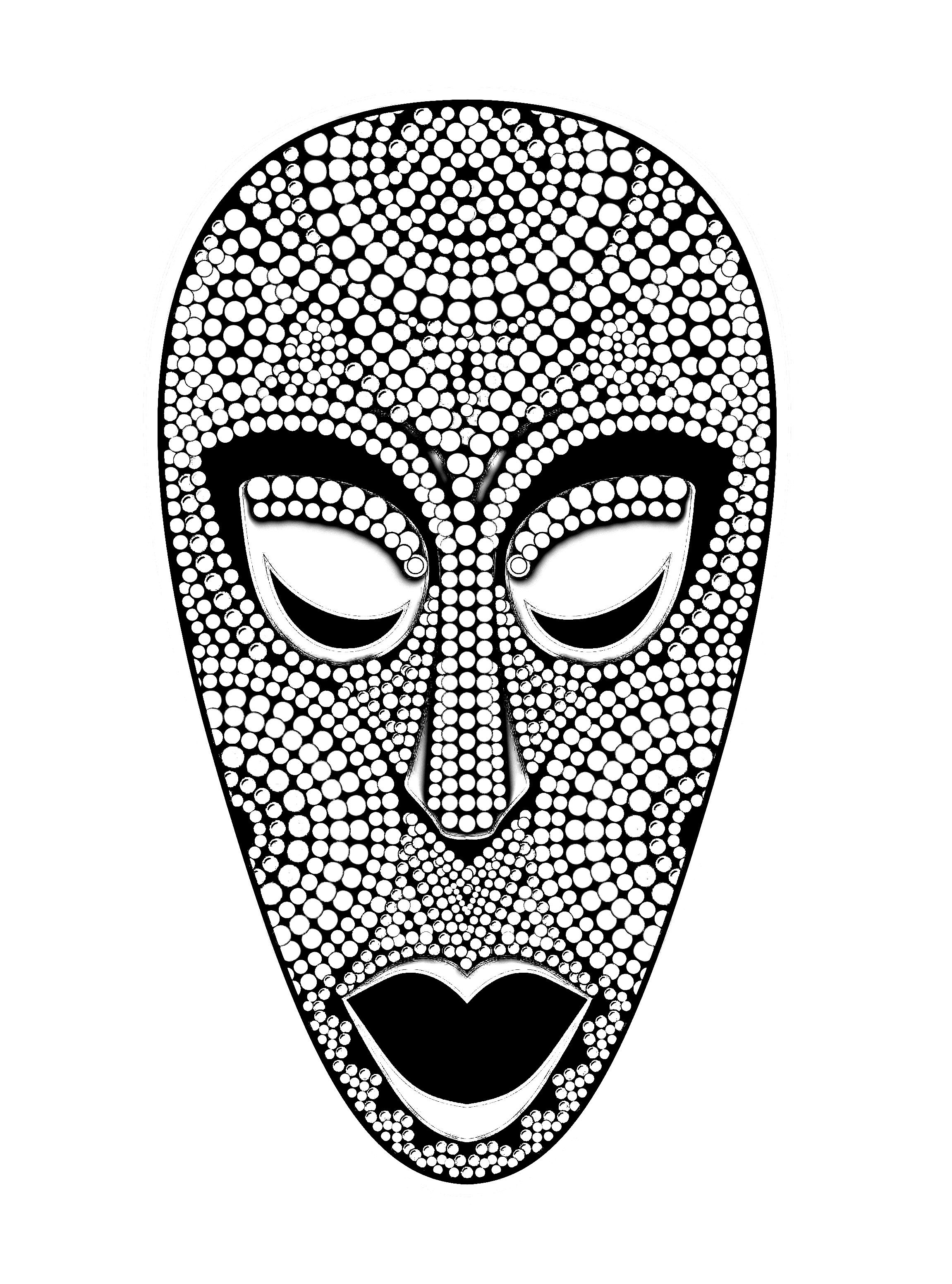 coloring page coloring-adult-african-mask. Coloring picture of an ...